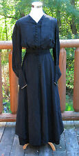 Antique Black Victorian Edwardian Mourning Dress S-XS Size Victorian Sleeves