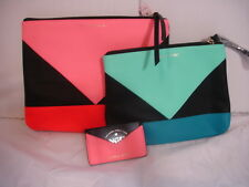 2 VICTORIA'S SECRET TRI-COLOR COSMETIC-TRAVEL ZIPPER BAGS & BONUS ID CASE-2 GIFT