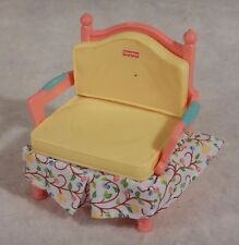 Chair Yellow Pink w/ Fabric Fisher Price Loving Family Dollhouse Furniture
