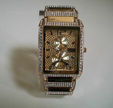 Hip Hop Mens Gold Finish Cubic Zirconia CZ Geneva Bling Iced Out Wrist Watch