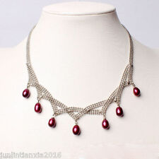 Genuine Natural 7-8mm Red Rice Freshwater Pearl  Necklace 17''