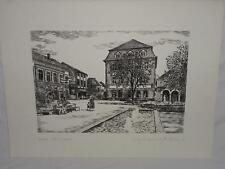 Steindruck Varel Schloßplatz Lithographie orig. Radierung M. Bloch (2514)