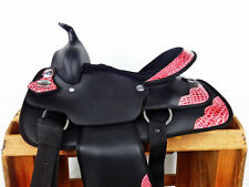 "15"" PINK BLACK GATOR SYNTHETIC WESTERN COWBOY PLEASURE TRAIL HORSE SADDLE TACK"
