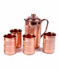 Indian Handmad Pure COPPER WATER JUG WITH 4 GLASS Pitcher WATER NATURAL Ayurveda