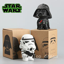 "NEW Star Wars Darth Vader & Storm Trooper Bobble Head 4"" Figure 2PCS In Box"