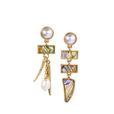 Exquiste Anthropologie Mulani Faux Pearl Rainbow Seashell Drop Earrings