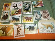 BEAR STAMPS OF THE WORLD QUALITY 30 STAMP LOT PANDA GRIZZLY RED  POLAR MONGOLIA