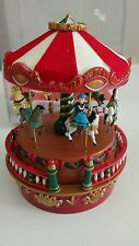 Mr. Christmas Animated Musical Carousel Wind up Dashing through the snow