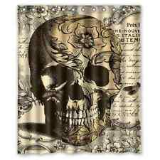 "Custom Skull BathCurtain 12 holes to which rings attach Shower Curtain 60"" x 72"""