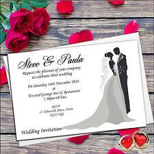 10 Personalizado Elegante Novia & Novio invitaciones de boda de día o noche N19