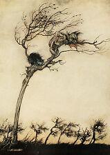 Arthur RACKHAM Fairytale POESIA JOHN MILTON Comus Tree Fata Stampa montata