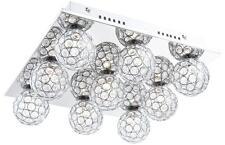 Deckenleuchte Deckenlampe quadratisch Chrom Acrylkristalle Kugeln Leuchte Lampe
