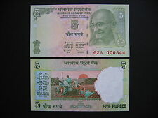 INDIA  5 Rupees 2009 Low Serial number: 62A 000xxx Letter E (P94A?)  UNC
