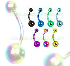 7 x TITANIUM ANODIZED navel bar wholesale anodised belly ring body piercing B13