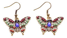 Alluring Multi- Colour Beads/ Intricate Golden Grill Butterfly Earrings(Ns17)