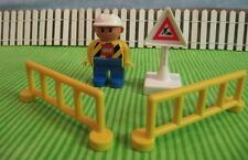 Lego Duplo figures man Construction Vehicle Worker Sign Yellow Fence Lot Playset