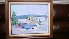 "OIL PAINTING  Early Winter,or Country Winter. NAIVE ART STYLE.  SIGNED 16"" by20"""