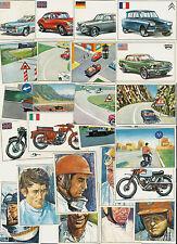 25 FIGURINE _QUADERNI EDIS_AUTO E MOTO_TUTTE DIFFERENTI_MAI INCOLLATE_ 1970 ?