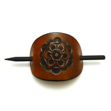 Handmade Tooled Genuine Brown Leather Bun Holder Maker Updo Hair Stick Tool Pin