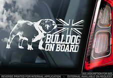Bulldog - Car Window Sticker - Dog on Board, British English Buldogue - TYP1