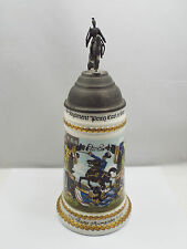 Vtg German Military Regimental Pewter Lid Lithophane Beer Stein,Reiter Aumeister