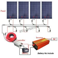 400W COMPLETE KIT:1KW 220V Pure Sine Wave Inverter+ 4*100W Solar Panel Off Grid