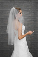 2T White / Ivory Wedding Bridal Elbow Length Veil with Comb - CRYSTALS