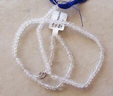 "14"" Strand Clear Crystal Quartz Gemstone Small Faceted Rondelle Beads 4mm"