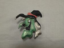 Halloween Green Wicked Scary Witch Pin Brooch Enamel Googly Eyes Black Hat Wart