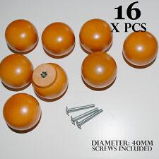 16 x WOODEN DOOR KNOBS ORANGE ROUND BALL HANDLES KITCHEN DRAWERS CABINETS 40MM