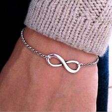 Women Silver Plated Infinity Sign Chain Charm Bangle Bracelet Jewelry
