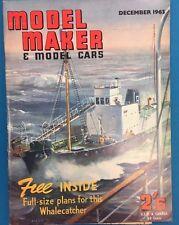 MODEL MAKER & MODEL CARS Magazine December 1963 published in Great Britain+plans