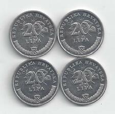 4 DIFFERENT 20 LIPA COINS from CROATIA (2007, 2009, 2011 & 2012)