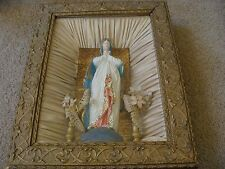 ANTIQUE Blessed Virgin Mary Chalk Statue Home & Family Altar 1890 Shadow Box