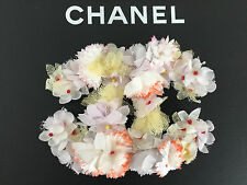 Authentic CHANEL '13 Collection Silk Flowers Huge CC Logo Brooch