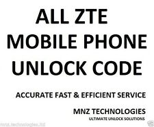 All Unlock Code for ZTE Tempo T815 T790 Telstra Australia Z730 Concord II