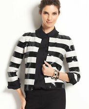 Ann Taylor -Misses' XS Fabulous Black & White Striped Sequin Stretch Jacket $179