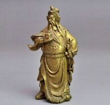 Rare Chinese bronze brass Dragon Warrior Guan Gong statue