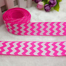NEW 5 Yards 1'' 25mm Rose Stripe Printed Grosgrain Ribbon Hair Bow DIY D87