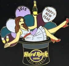 Hard Rock Hotel LAS VEGAS 2014 HAPPY NEW YEAR PIN Sexy Girl in Party Hat LE 250