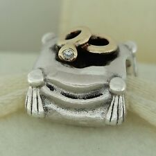 Authentic Pandora 790549D Romantic Union Diamond Gold Sterling Silver Bead Charm