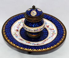 19THC ANTIQUE FRENCH SEVRES ENAMEL PORCELAIN BRONZE INKWELL  INKSTAND