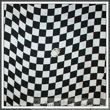 BonEful Fabric FQ Cotton Quilt Nascar Flag RACE CAR B&W Black White Wave S Check