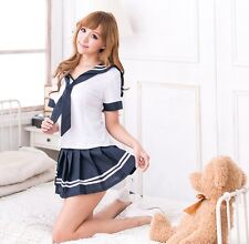 COSPLAY School Girl Studentessa Blu Navy Uniforme COSTUME LINGERIE, S-M
