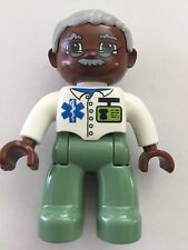 *NEW* Lego DUPLO Male MEDIC WHITE Top SAND GREEN Legs GRAY Hair BROWN Head