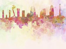 PAINTING ABSTRACT CITYSCAPE BARCELONA SPAIN PAINT SPLASH SKYLINE POSTER BMP10646