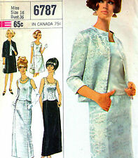 "DESIGNER Vintage 60s EVENING TWO PIECE DRESS Sewing Pattern Bust 36"" Sz 12 RETRO"