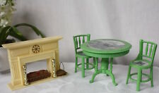 Plastic Doll House Fireplace Table and Chairs