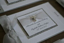 Christening invitation handmade cross DIAMANTE SPARKLE CHARM cheque book