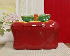 Red Apple Breadbox Ceramic Canister Kitchen Counter Decorative Storage Organizer